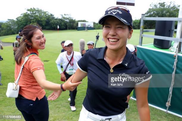 Hikari Fujita of Japan celebrates winning the tournament after the final round of the Yupiteru Shizuoka Shimbun SBS Ladies at Shizuoka Country...