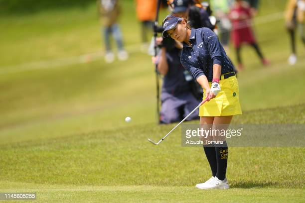 Hikari Fujita of Japan chips onto the 5th green during the final round of the Fuji Sankei Ladies Classic at Kawana Hotel Golf Course Fuji Course on...