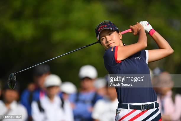 Hikari Fujita of Japan hits a tee shot on the 10th hole during the second round of the Resorttrust Ladies at Grandi Hamanako Golf Club on June 1,...