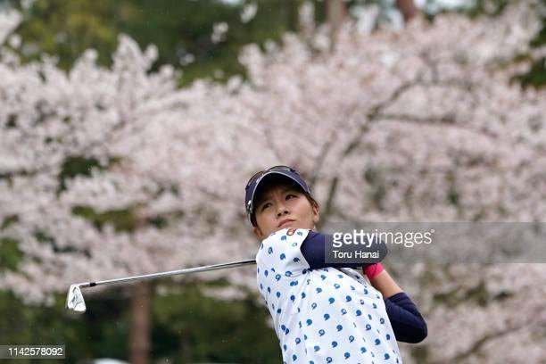 Hikari Fujita of Japan hits a tee shot on the 13th hole, during the final round of the Hanasaka Ladies Yanmar Golf Tournament at Biwako Country Club...