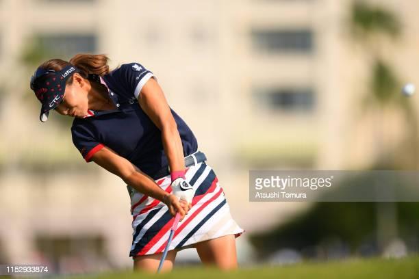 Hikari Fujita of Japan hits her second shot on the 10th hole during the second round of the Resorttrust Ladies at Grandi Hamanako Golf Club on June...