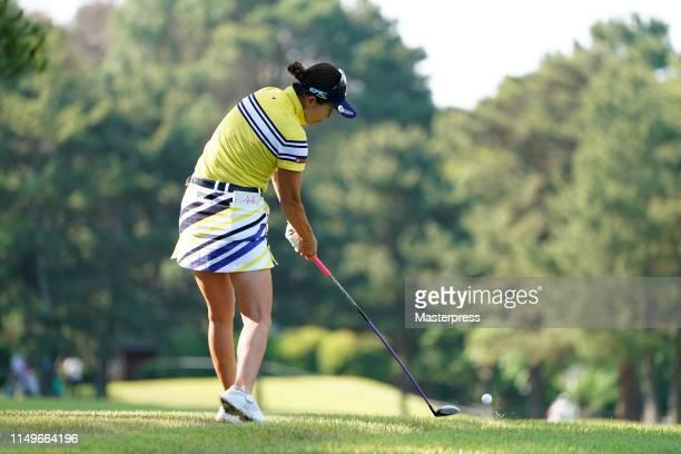 Hikari Fujita of Japan hits her second shot on the 11th hole during the first round of the Hoken-no-Madoguchi Ladies at Fukuoka Country Club Wajiro...