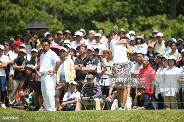 Hikari Fujita of Japan hits her tee shot on the 13th hole during the final round of the Yonex Ladies Golf Tournament 2016 at the Yonex Country Club...