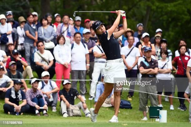 Hikari Fujita of Japan hits her tee shot on the 17th hole during the final round of the Yupiteru Shizuoka Shimbun SBS Ladies at Shizuoka Country...
