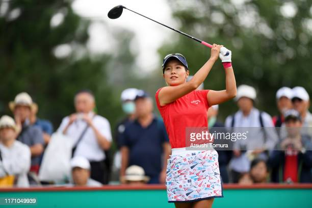 Hikari Fujita of Japan hits her tee shot on the 1st hole during the second round of the Nitori Ladies at Otaru Country Club on August 30, 2019 in...