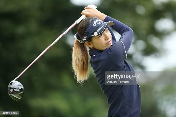 Hikari Fujita of Japan hits her tee shot on the 1st hole during the first round of the Munsingwear Ladies Tokai Classic at the Shin Minami Aichi...
