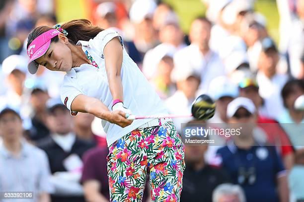 Hikari Fujita of Japan hits her tee shot on the 1st hole during the final round of the Chukyo Television Bridgestone Ladies Open at the Chukyo Golf...