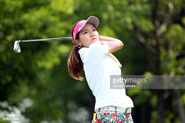 Hikari Fujita of Japan hits her tee shot on the 3rd hole during the final round of the Yonex Ladies Golf Tournament 2016 at the Yonex Country Club on...