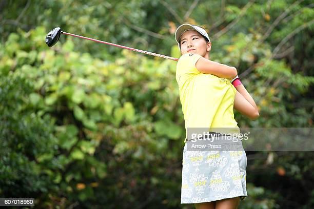 Hikari Fujita of Japan hits her tee shot on the 5th hole during the second round of the Munsingwear Ladies Tokai Classic 2016 at the Shin Minami...