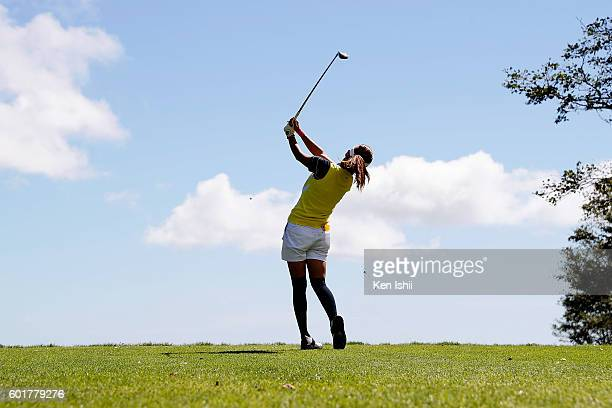 Hikari Fujita of Japan hits her tee shot on the 6th hole during the third round of the 49th LPGA Championship Konica Minolta Cup 2016 at the...
