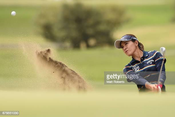 Hikari Fujita of Japan hits out of the 6th green bunker during the third round of the World Ladies Championship Salonpas Cup at the Ibaraki Golf Club...