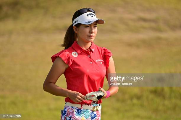Hikari Fujita of Japan is seen after her tee shot on the 11th hole during the first round of the JLPGA Championship Konica Minolta Cup at the JFE...