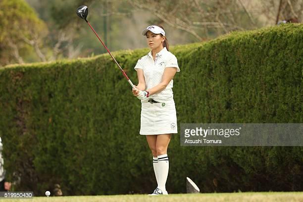 Hikari Fujita of Japan lines up her tee shot on the 2nd hole during the second round of the Studio Alice Open at the Hanayashiki Golf Club Yokawa...