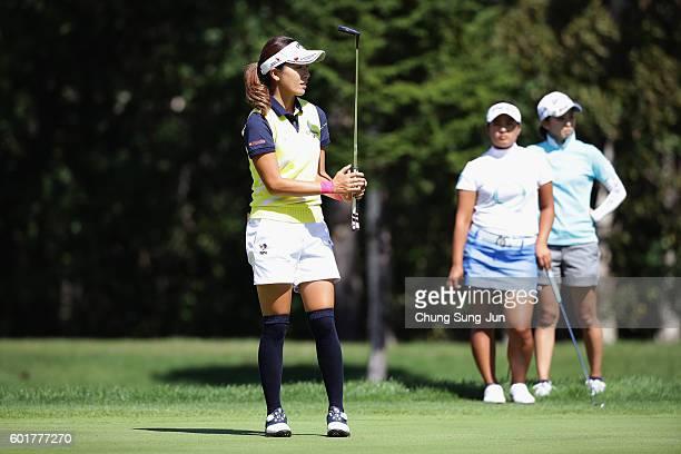 Hikari Fujita of Japan plays a putt on the 5th hole during the third round of the 49th LPGA Championship Konica Minolta Cup 2016 at the Noboribetsu...