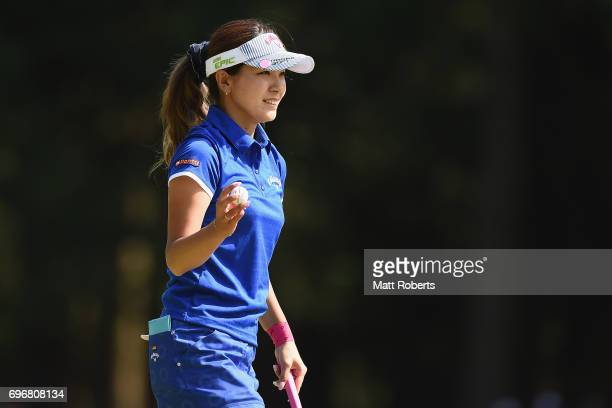 Hikari Fujita of Japan reacts after her putt on the 18th green during the second round of the Nichirei Ladies at the on June 17 2017 in Chiba Japan