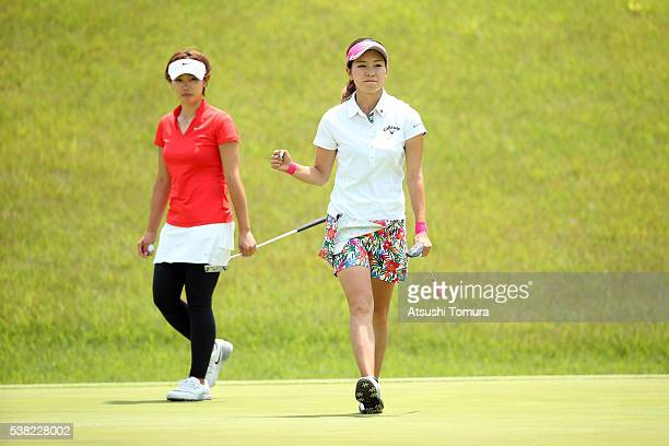 Hikari Fujita of Japan reacts after making her birdie putt on the 9th green during the final round of the Yonex Ladies Golf Tournament 2016 at the...