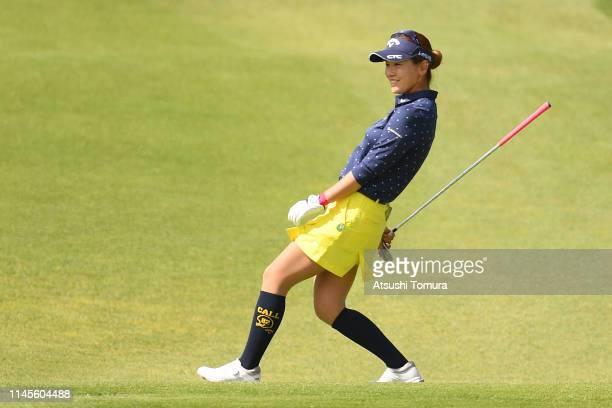 Hikari Fujita of Japan reacts during the final round of the Fuji Sankei Ladies Classic at Kawana Hotel Golf Course Fuji Course on April 28, 2019 in...