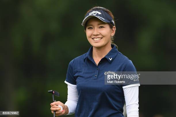 Hikari Fujita of Japan smiles after her putt on the 18th green during the second round of the NEC Karuizawa 72 Golf Tournament 2017 at the Karuizawa...