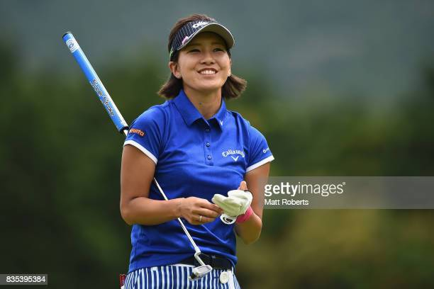 Hikari Fujita of Japan smiles after her tee shot on the 12th hole during the second round of the CAT Ladies Golf Tournament HAKONE JAPAN 2017 at the...