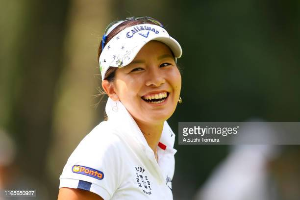 Hikari Fujita of Japan smiles after her tee shot on the 9th hole during the second round of the Daito Kentaku eHeya Net Ladies at Narusawa Golf Club...