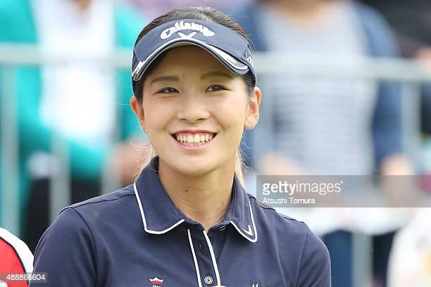 Hikari Fujita of Japan smiles during the first round of the Munsingwear Ladies Tokai Classic at the Shin Minami Aichi Country Club Mihama Course on...