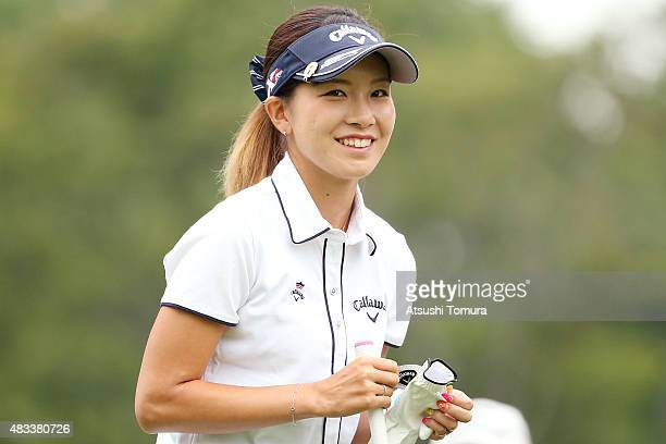 Hikari Fujita of Japan smiles during the second round of the meiji Cup 2015 at the Sapporo Kokusai Country Club on August 8 2015 in Kitahiroshima...