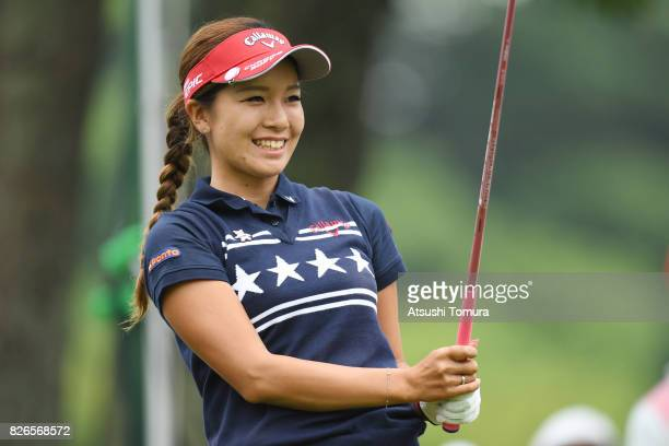 Hikari Fujita of Japan smiles during the second round of the meiji Cup 2017 at the Sapporo Kokusai Country Club Shimamatsu Course on August 5 2017 in...