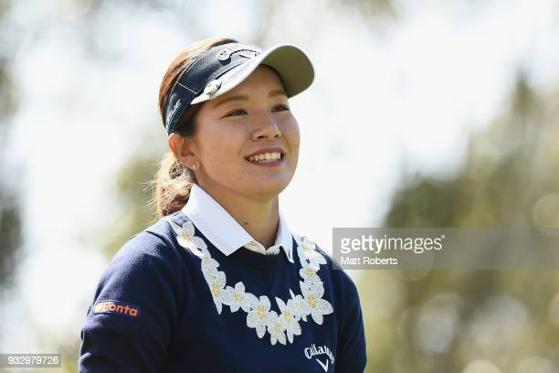 Hikari Fujita of Japan smiles during the second round of the T-Point Ladies Golf Tournament at the Ibaraki Kokusai Golf Club on March 17, 2018 in...