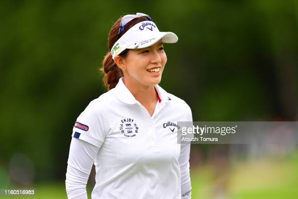 Hikari Fujita of Japan smiles on the 18th green during the final round of the Shiseido Anessa Ladies Open at Totsuka Country Club on July 7, 2019 in...