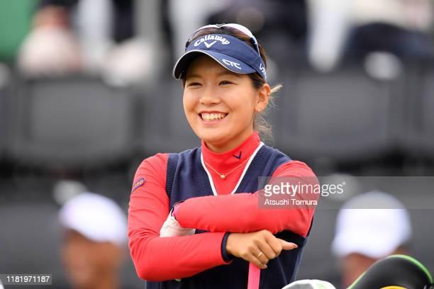 Hikari Fujita of Japan smiles on the 1st tee during second round of Fujitsu Ladies at Tokyu Seven Hundred Club on October 19, 2019 in Chiba, Japan.
