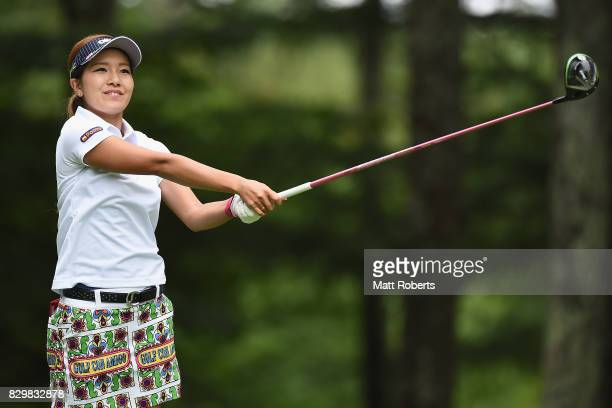 Hikari Fujita of Japan watches her tee shot on the 2nd hole during the first round of the NEC Karuizawa 72 Golf Tournament 2017 at the Karuizawa 72...