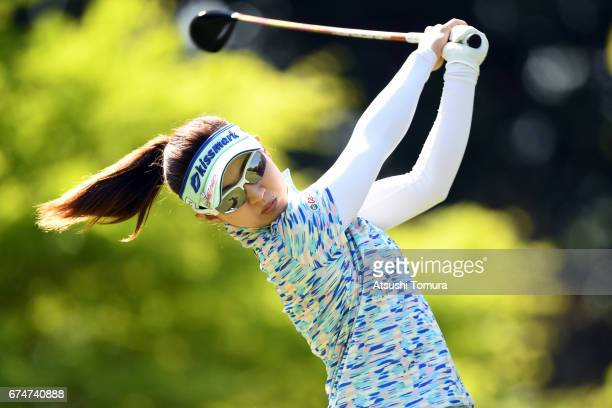 Hikari Kawamistu of Japan hits her tee shot on the 2nd hole during the second round of the CyberAgent Ladies Golf Tournament at the Grand Fields...