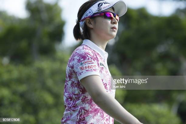 Hikari Kawamitsu of Japan hits a tee shot on the 2nd hole during the first round of the Daikin Orchid Ladies at Ryukyu Golf Club on March 1 2018 in...