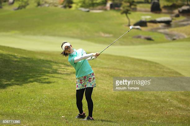 Hikari Kawamitsu of Japan hits her second shot on the 9th hole during the final round of the CyberAgent Ladies Golf Tournament at the Grand Fields...