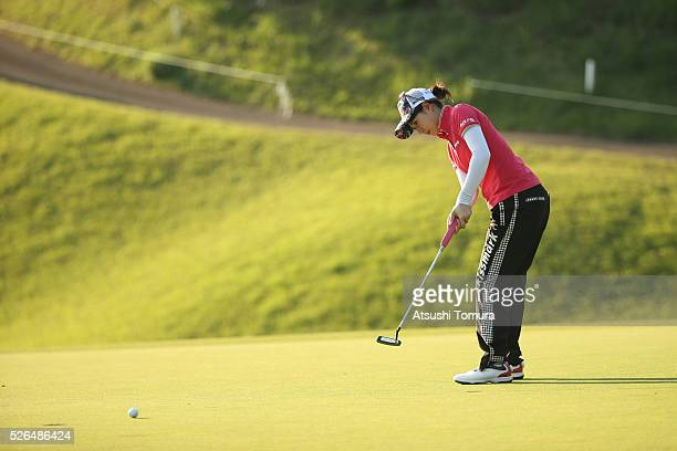 Hikari Kawamitsu of Japan putts on the 17th green during the second round of the CyberAgent Ladies Golf Tournament at the Grand Fields Country Club...