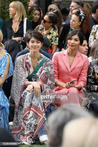 Hikari Mori and Gemma Chan attend the Tory Burch Spring Summer 2019 Fashion Show at Cooper Hewitt Smithsonian Design Museum on September 7 2018 in...