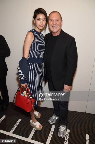 Hikari Mori and Michael Kors attend the Michael Kors Collection Fall 2018 Runway Show at Vivian Beaumont Theatre at Lincoln Center on February 14...
