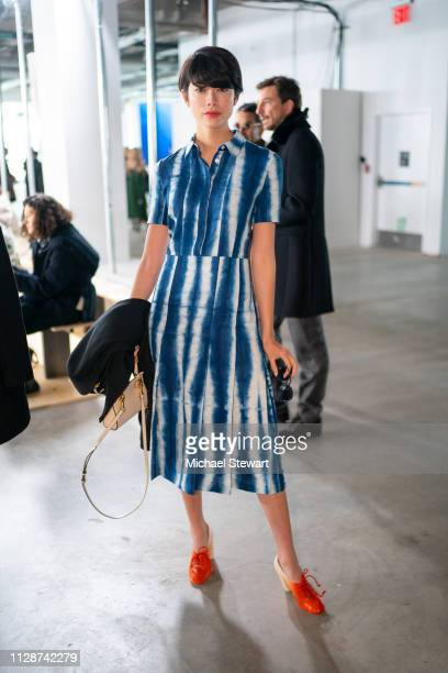 Hikari Mori attends the Tory Burch Fall Winter 2019 Fashion Show at Pier 17 on February 10 2019 in New York City