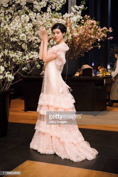 Hikari Mori attends the Tory Burch Ginza Boutique Opening After Party on April 02 2019 in Tokyo Japan