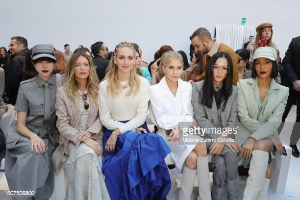 Hikari Mori Helena Bordon Chiara Ferragni Caro Daur Yoyo Cao and Molly Chiang all wearing Max Mara attend the Max Mara show during Milan Fashion Week...