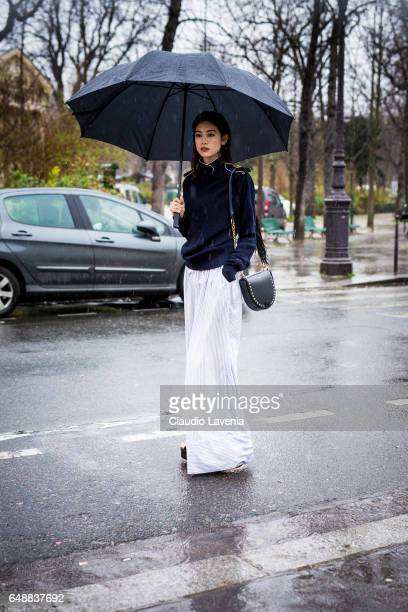 Hikari Mori is seen before the Sacai show at the Grand Palais during Paris Fashion Week Womenswear Fall/Winter 2017/2018 on March 6 2017 in Paris...