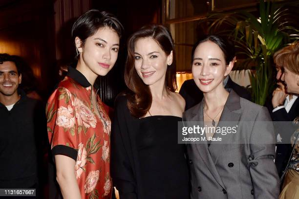 Hikari Mori Michelle Monaghan and Ning Chang attend Salvatore Ferragamo Dinner Party during Milan Fashion Week Autumn/Winter 2019/20 on February 23...