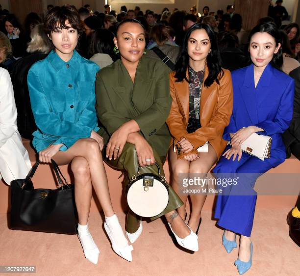 Hikari Mori Paloma Elsesser Camila Mendes and Olivia Sui attend the Salvatore Ferragamo show during during Milan Fashion Week Fall/Winter 2020/2021...