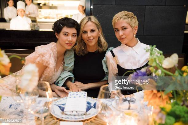 Hikari Mori Tory Burch and Sonoya Mizuno attend the Tory Burch Ginza Boutique Opening After Party on April 02 2019 in Tokyo Japan