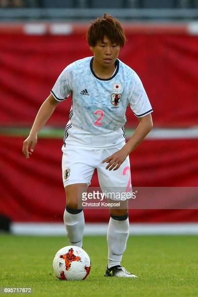 Hikari Takagi of Japan runs with the ball during the Women's International Friendly match between Belgium and Japan at Stadium Den Dreef on June 13...