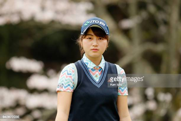Hikari Tanabe of Japan on the 8th hole during the final round of the Hanasaka Ladies Yanmar Golf Tournament at Biwako Country Club on April 6 2018 in...