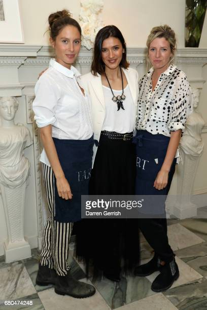 Hikari Yokoyama and Jemima Jones and Lucy CarrEllison of Tart London attend the Clos19 Launch Dinner #Clos19Moments on May 8 2017 in London England
