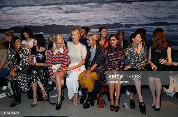 Hikari Yokoyama Daisy Lowe Poppy Delevingne Eva Herzigova Laura Bailey Jenna Coleman Erin O'Connor and Rose Leslie attend the Erdem show during...