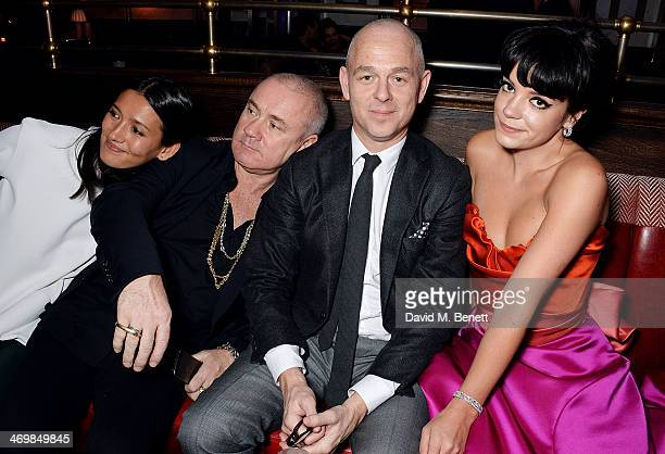 Hikari Yokoyama, Damien Hirst, Jan Kennedy and Lily Allen attend the Weinstein Co, Entertainment and Pathe, post-BAFTA party hosted by Bulgari and...