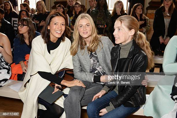 Hikari Yokoyama Donna Air and daughter Freya Air Aspinall attend the ISSA Autumn/Winter 2015 Runway Show during London Fashion Week at One Great...